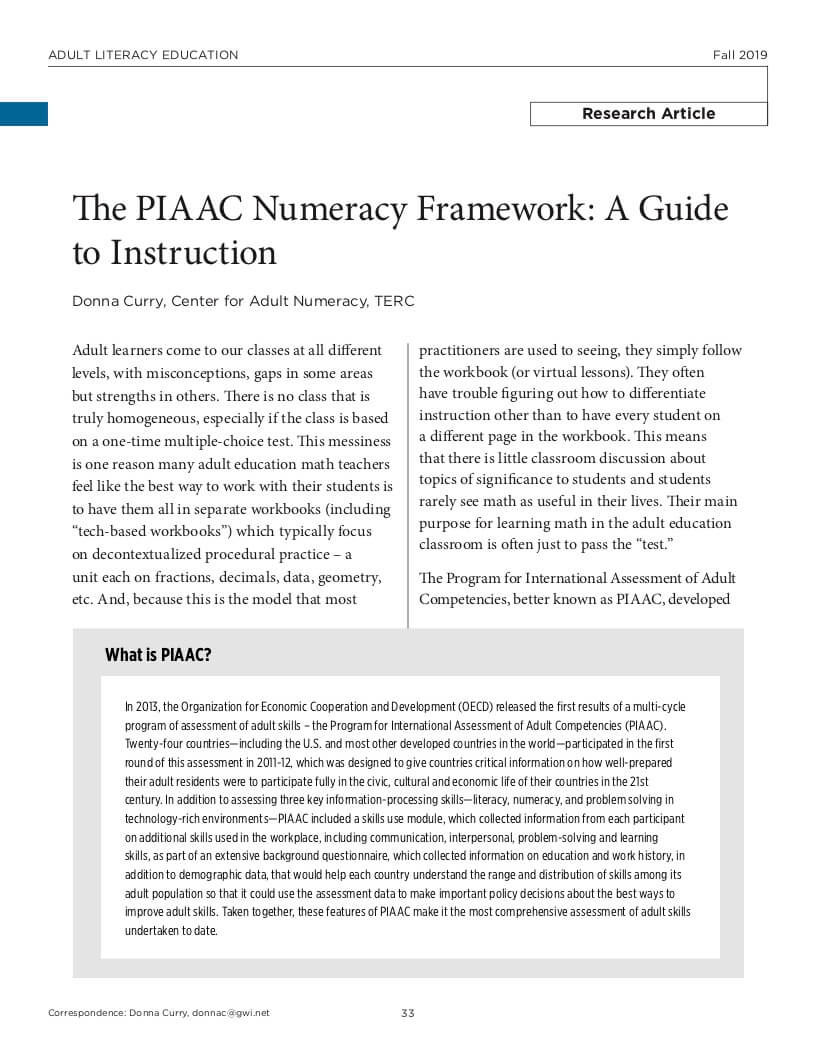 ALE Research Journal, Curry, Numeracy Framework