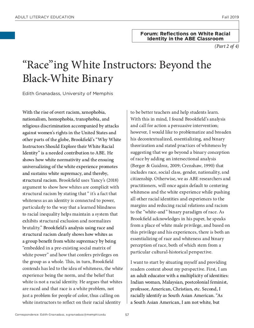 ALE Research Journal, Gnanadass, Beyond the Black-White Binary